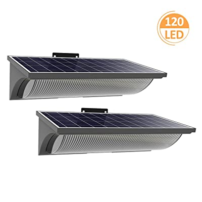 120 LED Solar Lights Outdoor, Fast Delivery in 7 Days, Solar Security Wall Light with Wide Angle for Outdoor Camping, Barbecue, RV, Fishing Boat (Grey, 2 Pack)
