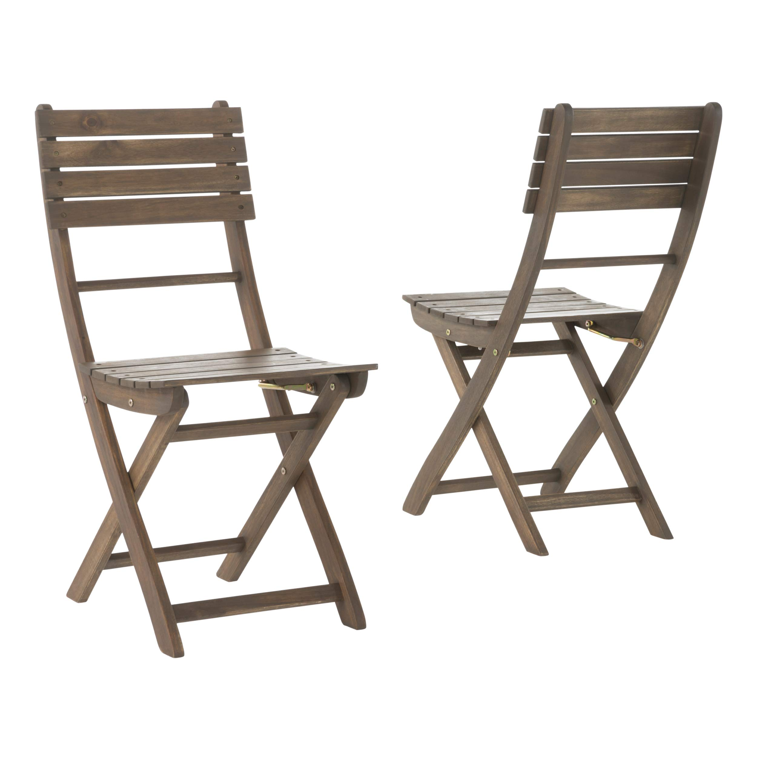 GDF Studio Vicaro | Acacia Wood Foldable Outdoor Dining Chairs | Set of 2 | Perfect for Patio | with Grey Finish