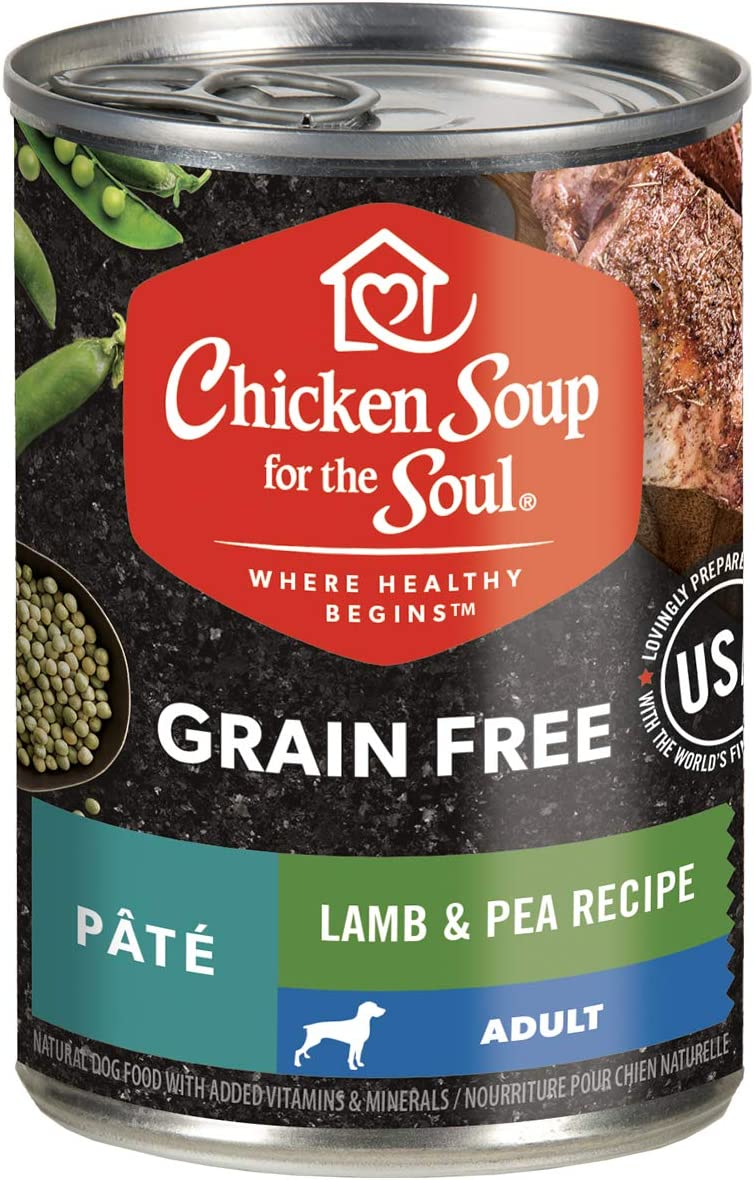 Chicken Soup for The Soul Grain Free Adult Wet Dog Food, Lamb & Pea Pate Recipe, 13 oz. Cans (Case of 12) - Grain Free Dog Food - Soy, Corn & Wheat Free, No Artificial Flavors or Preservatives