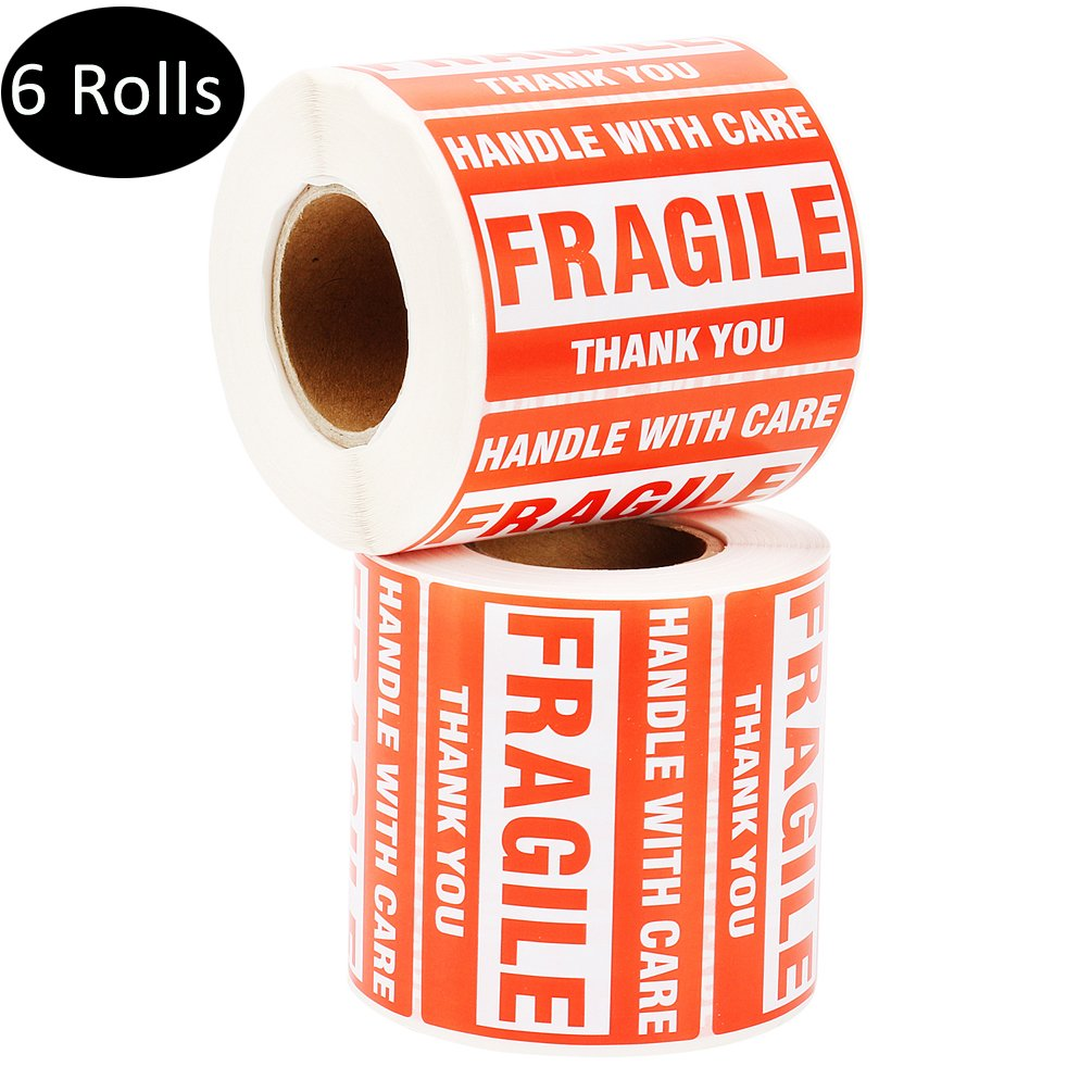 MFLABEL 6 Rolls Fragile Tapes - 2''x3'' Handle With Care Stickers - 500/ Roll Thank You Shipping Labels