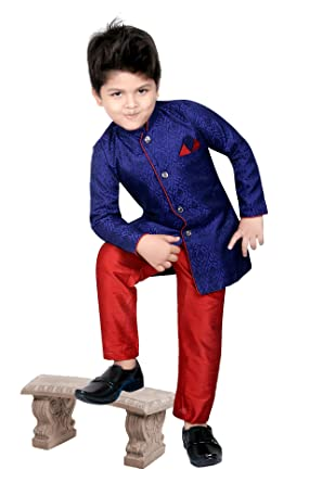 e5e38bf415c26 BEDI'S Boys Sherwani Suit With Pyjama and Pant Dress Indian Wedding Party  Wear Toddler Infant Ethnic Bollywood Traditional Kurta Pajama (SC-08)