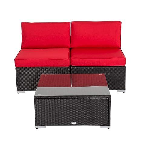 Kinsuite - Juego de sofá de Mimbre para Exteriores, 3 sillas ...