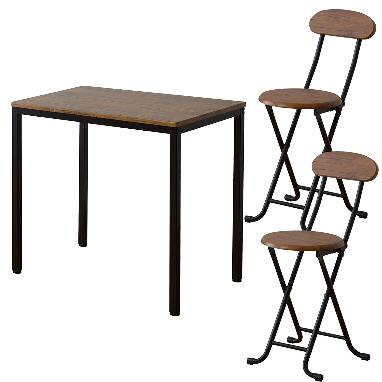 ワイエムワールド ヴィンテージ調 デザイン ボートン テーブル + 折りたたみ式チェア2脚 計3点セット 34-125 B06XCRH3JK テーブル+チェア2脚|ブラウン ブラウン テーブル+チェア2脚