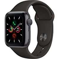 Apple Watch Series 5 40mm GPS Smartwatch with Black Sport Band (Space Gray Aluminum Case) (Latest Model, Late 2019)