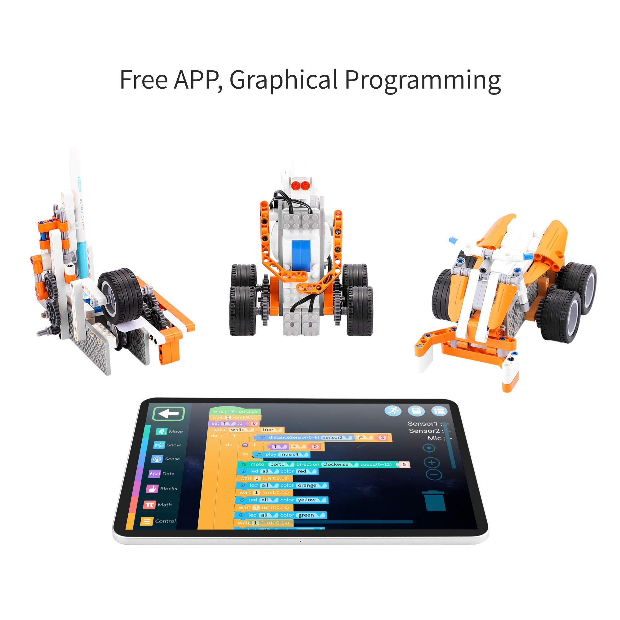Apitor SuperBot, Educational Building Block 18 in 1 Robot Kit, APP Remote Control, STEM Coding Learning Toy, Ideal Gift for Kids 8+, Compatible with Major Building Block Toys (400+ Pieces) by Apitor Technology Co., Ltd. (Image #3)