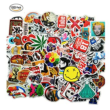 100 pieces waterproof vinyl stickers for personalize laptop car helmet skateboard luggage