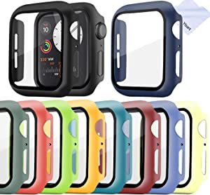 Screen Protector for Apple Watch Series 6/5/4 /SE 40mm Case with Tempered Glass Screen Protector Cover Bumper (10 Pack)