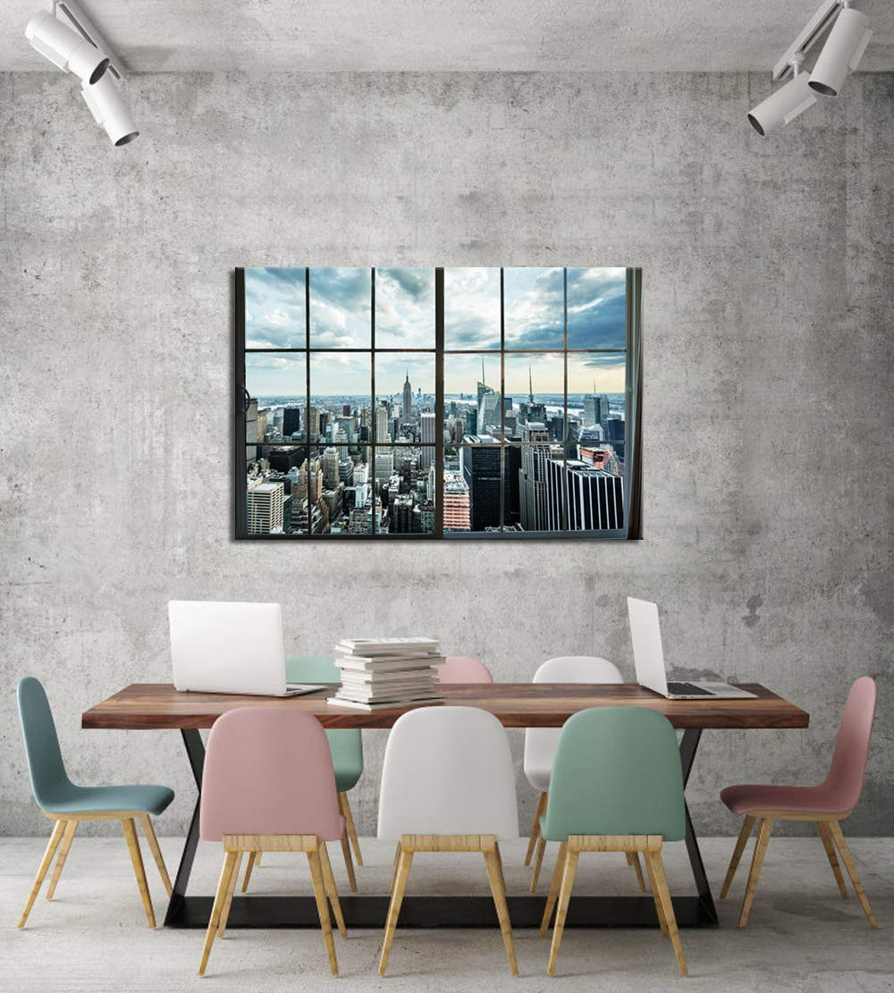 LevvArts – Large Manhattan New York City Skyline Canvas Prints Cityscape from Window Picture Photography Canvas Art with Inner Wood Frame Modern Home Decoration