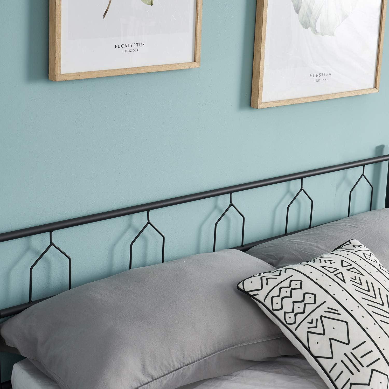Black HJhomeheart Single Metal Beds 3ft Bed Frame for 90 x 190 cm Mattress Metal Bed Platform Large Storage Space Bed Structure with Solid Metal Slats Support
