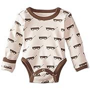 L'ovedbaby Unisex-Baby Newborn Organic Gloved-Sleeve Bodysuit, Gray Wagon, 3-6 Months