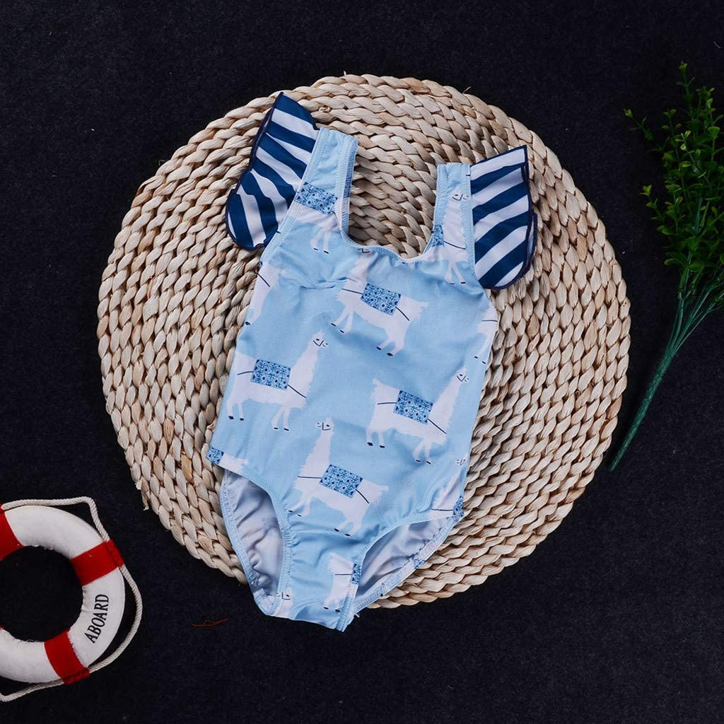Cuekondy 1-5 Years Old Toddler Kid Baby Girl Striped Cute Cartton Animal Printed Swimsuit Swimwear Bathing Suit Bikini