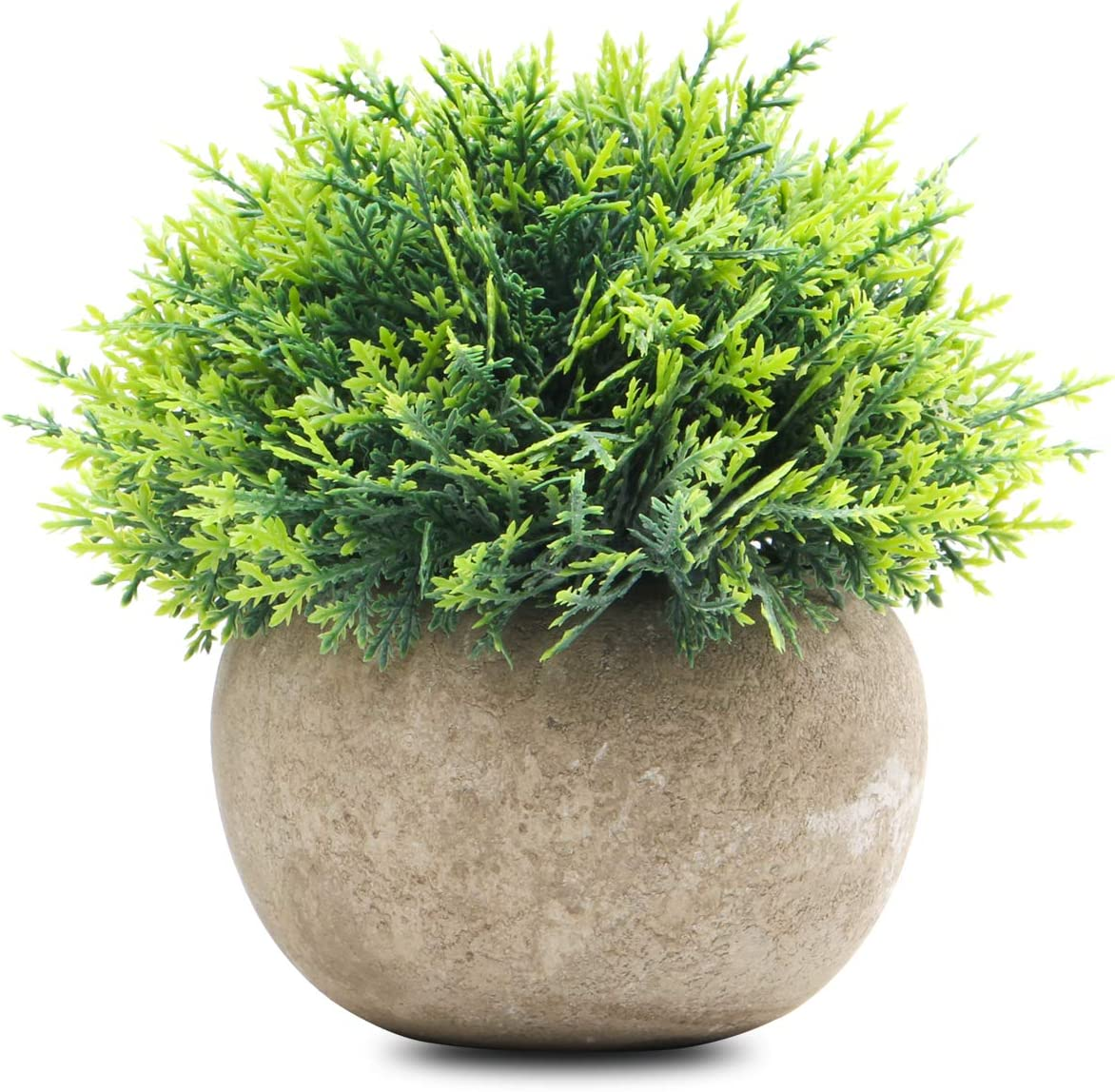 Epartswide Mini Fake Plants,Plastic Fake Green Grass Faux Greenery Topiary Shrubs with Grey Pots for Bathroom Office Home Decor