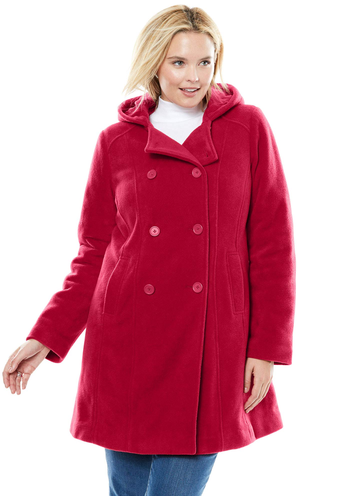 Woman Within Women's Plus Size Double-Breasted Hooded Fleece Peacoat Coat