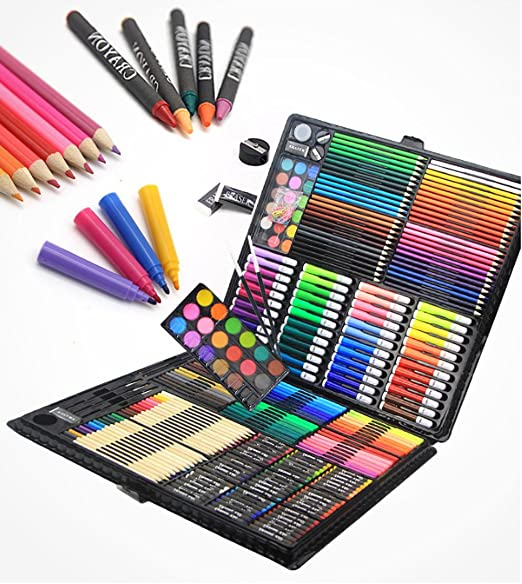 Set de artes, 288 piezas de lápices de colores profesionales para niños con caja de pintura artística, aprendizaje de artículos de papelería regalos: Amazon.es: Hogar