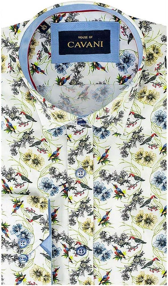 Cavani Hombres No 700 Golpeteado Impreso Floral Aves Ajustado Camisa Casual Mangas largas Algodón Blanco, XXL: Amazon.es: Ropa y accesorios