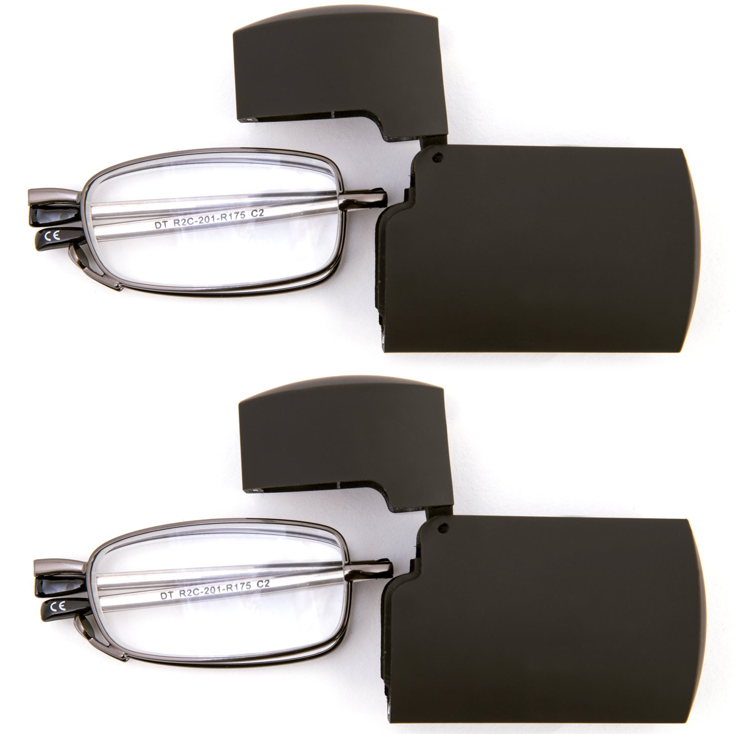 DOUBLETAKE 2 Pack Compact Folding Readers Reading Glasses w Case - 1.50x by DOUBLETAKE (Image #3)