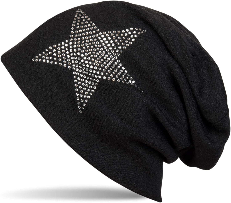 styleBREAKER Cuffia Beanie Classica Unisex con Applique di Strass e Stelle Calda 04024023