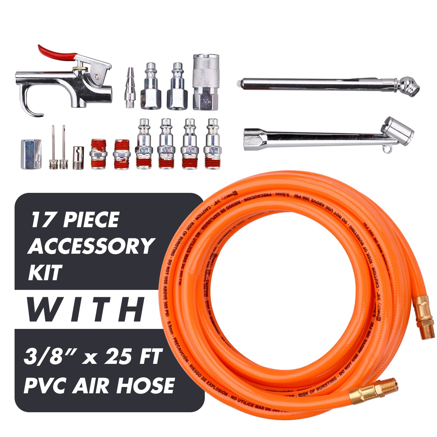 WYNNsky 3/8''X 25ft PVC Air Compressor Hose With 17 Piece Air Tool and Air Accessories Kit by WYNNsky (Image #2)