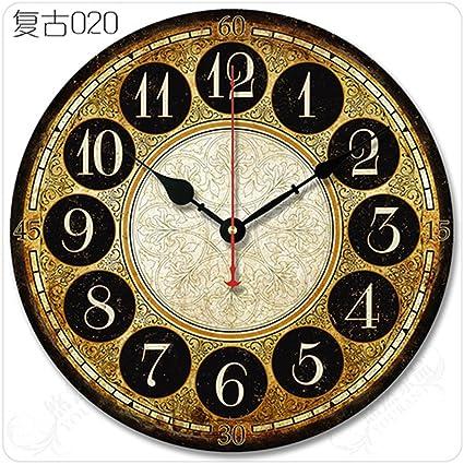 AISSION Wall Clock Pastoral Dormitorio Salón Retro Reloj de pared relojes modernos de madera,35cm