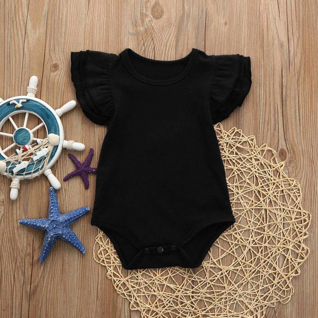 866b84b51c6c Amazon.com: GWshop Cute Baby Playsuit, Baby Girls Jumpsuit, Newborn Infant  Solid Colored Summer Romper Bodysuit Sundress Outfits: Clothing