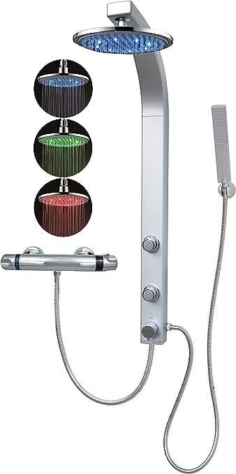 Thermostat Duschpaneel Led Regendusche Duschsäule Duscharmatur Eckmontage Silber