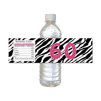 Amazon com: 250 Water Bottle Labels Waterproof 60th Birthday