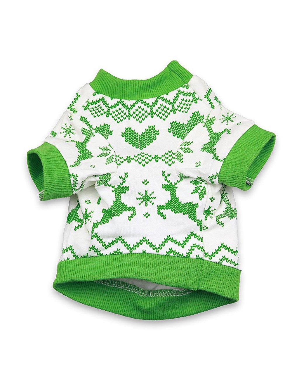 DroolingDog Dog Christmas Shirts Puppy T Shirt Dog Xmas Clothes for Small Dogs Green Small