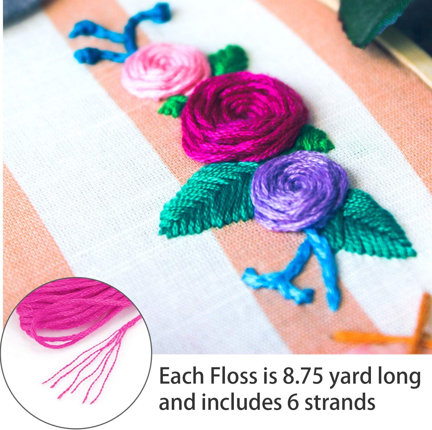 Embroidery Floss Rainbow Color 108 Skeins Per Pack with Cotton Cross Stitch Threads Friendship Bracelets Floss Crafts Floss Set AROIC Craft Floss