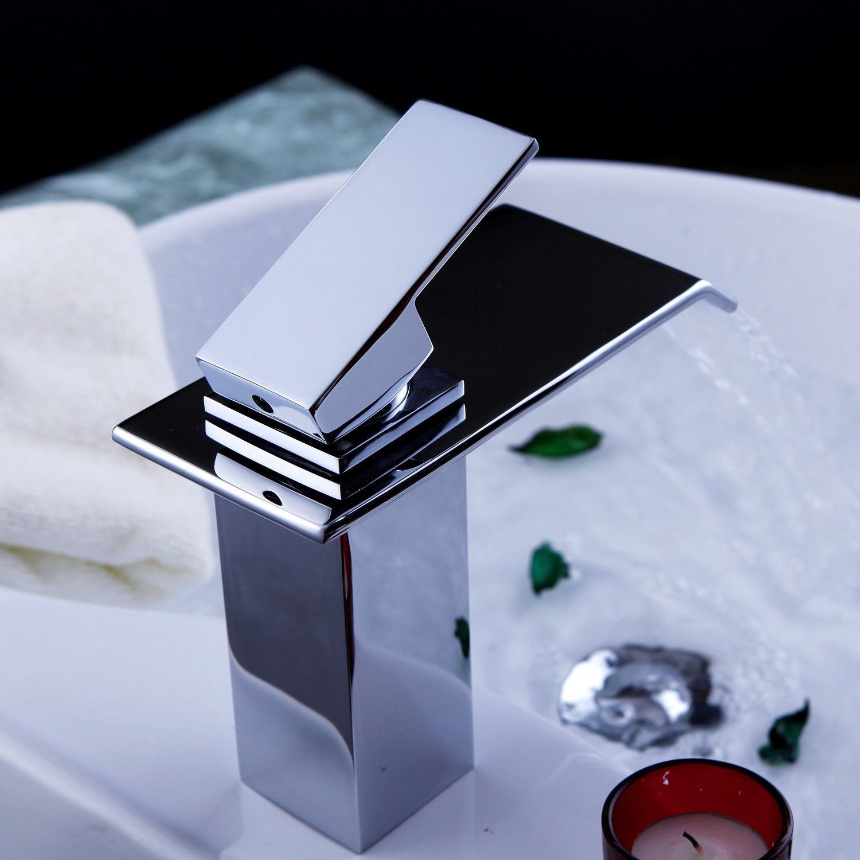 yodel single handle waterfall bathroom vanity sink faucet (chrome  - yodel single handle waterfall bathroom vanity sink faucet (chrome)  amazoncom