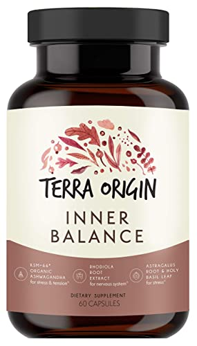 Terra Origin, Healthy Inner Balance Stress Relief Supplement, Capsules, 30 Servings, with Rhodiola Extract, Astragalus Root, Holy Basil and KSM-66 Organic Ashwagandha