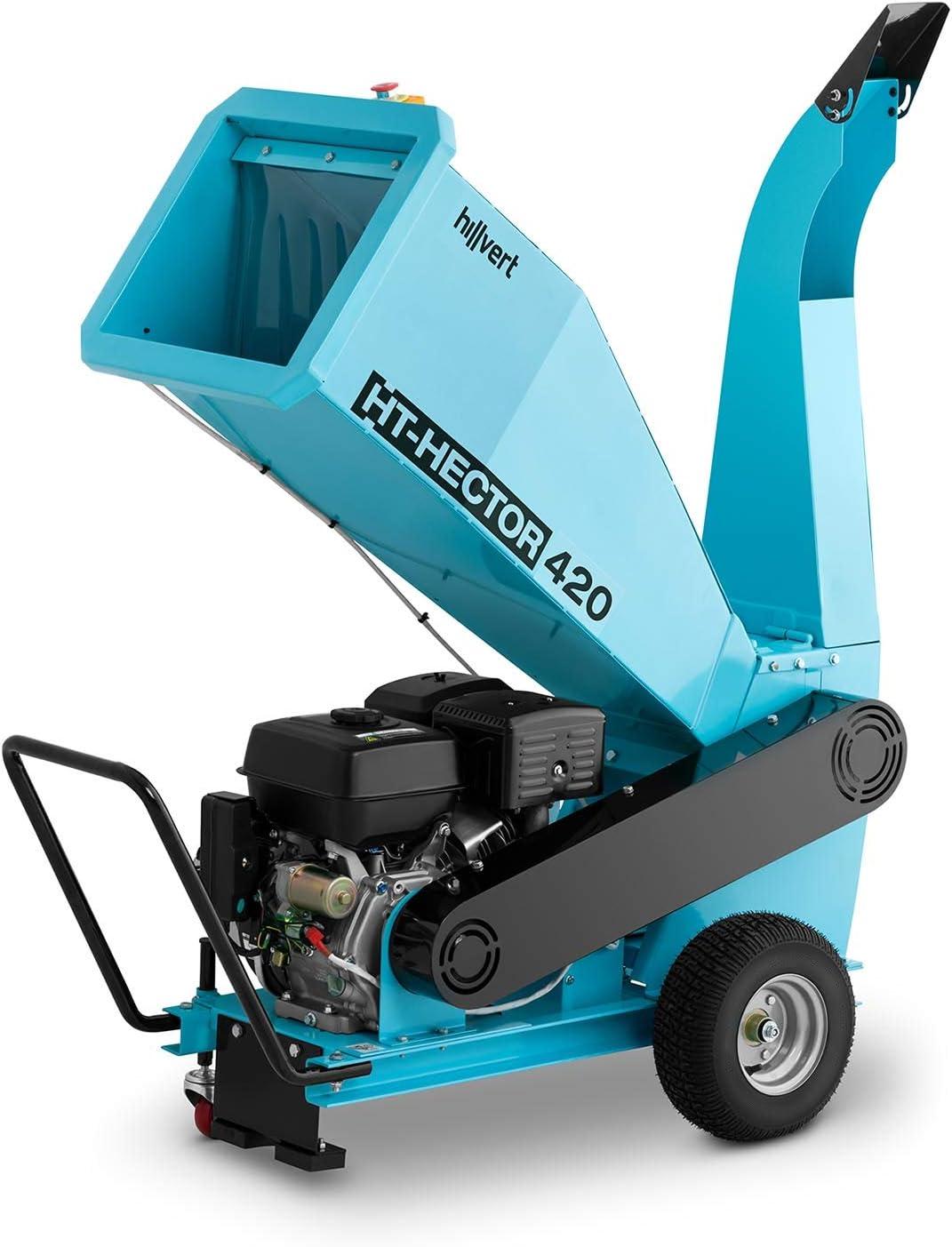 hillvert Trituradora De Madera a Gasolina Triturador De Jardín HT-HECTOR 420 (Velocidad Giro: 3.600 rpm, Potencia Máx. Motor: 15 PS, Diámetro Máx. Corte: 100 mm