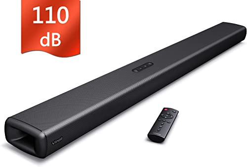 Sound Bar, Sound Bar for TV, Vinoil Soundbar with Built-in Subwoofer, Wired Wireless Bluetooth Speaker for TV, Optical AUX Coaxial Input, Wall Mountable, Surround Sound System for TV Home Theater