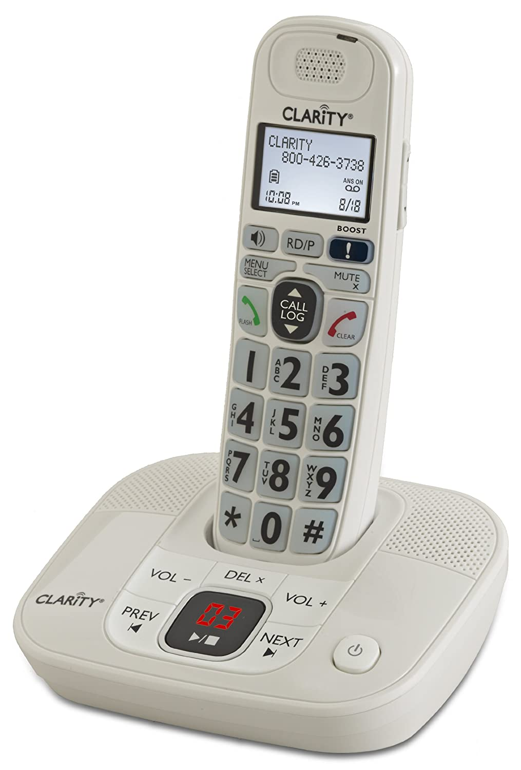 Clarity D714 DECT 6.0 Expandable Amplified Cordless Phone with Caller ID and Digital Answering System