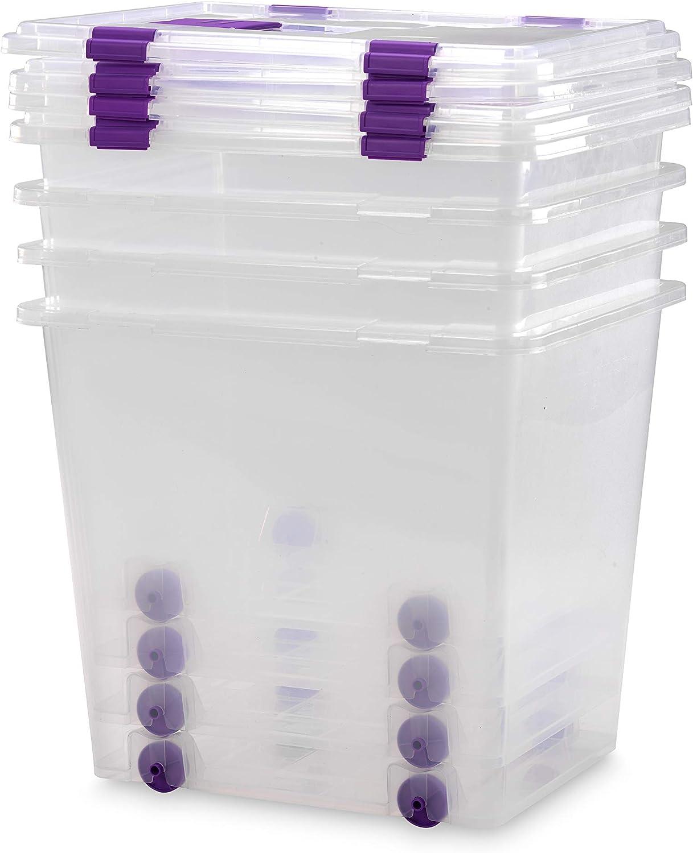 TODO HOGAR Cajas Almacenaje Plastico Grandes Multiusos con Ruedas Natural - 510x410x460-70 litros (4)