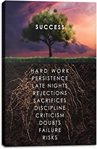 "Yetaryy Success Tree Inspirational Quote Canvas Wall Art Motivational Motto Painting Inspiring Entrepreneur Posters Prints Artwork Decor Framed for Home Office Classroom Ready to Hang - 12"" Wx18 H"