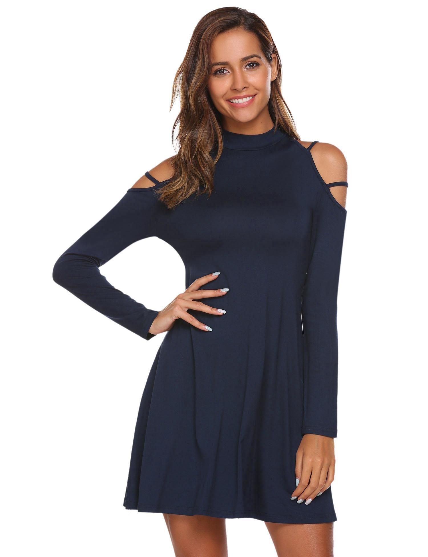 Misakia Women's Summer Cold Shoulder Tunic Top Swing T-Shirt Loose Dress (Navy Blue XL)