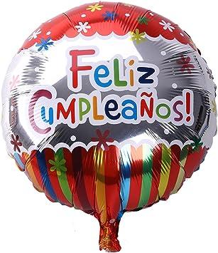 NUOLUX 18 Pulgadas de Forma Redonda española Feliz cumpleaños Foil Mylar Globos para la decoración de Fiesta de cumpleaños (3): Amazon.es: Juguetes y juegos