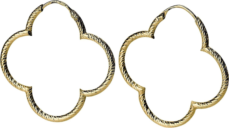 Pendientes de aro para mujer de Silbermoos, chapados en oro, diseño de trébol con flores brillantes y diamantadas, plata de ley 925