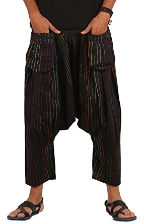 THS Mens Shorts Harem Capri 3/4 Boho Hippie Drop Crotch Capri ...