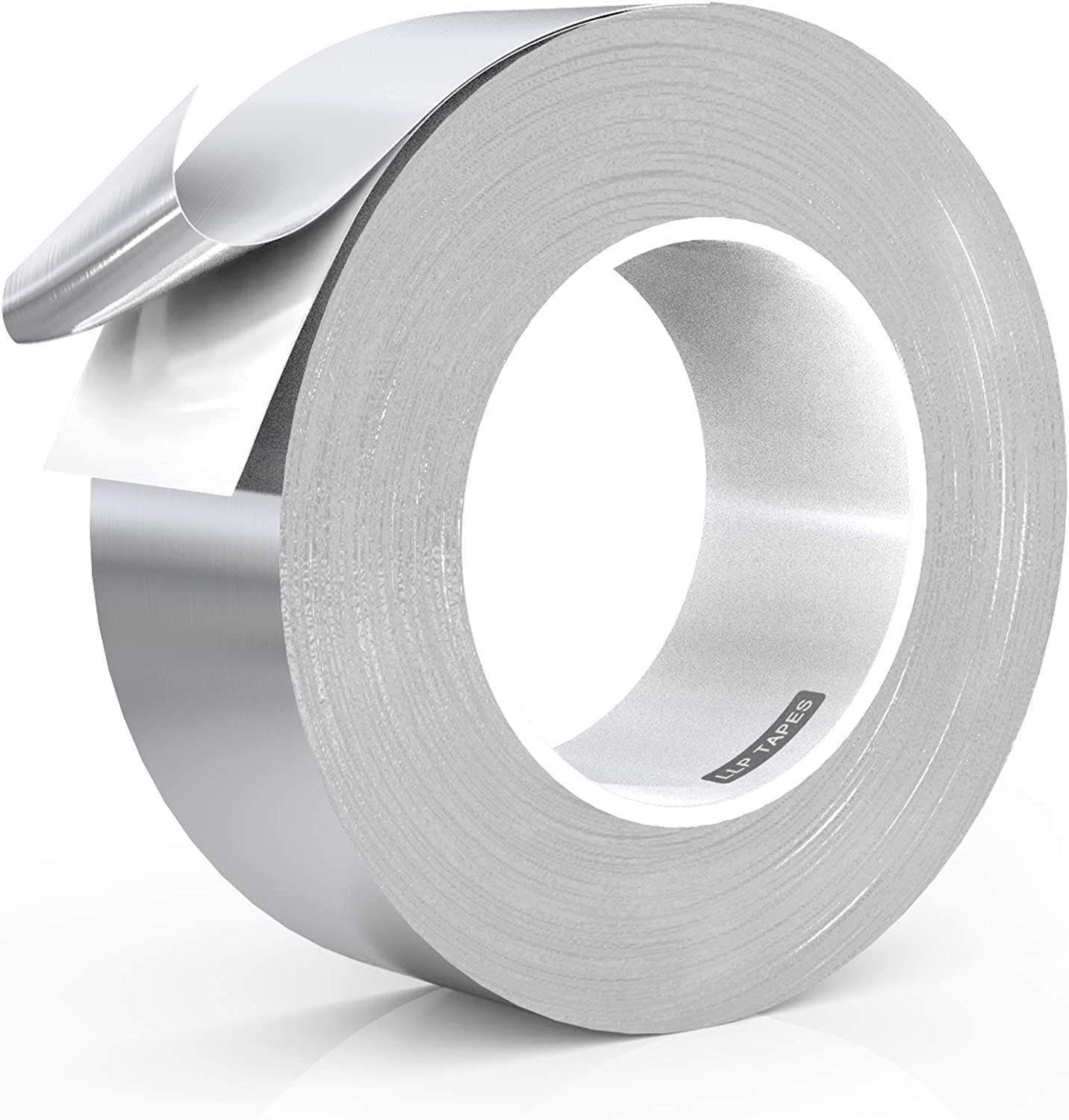 LLPT Aluminum Foil Tape 2 Inches x 55 Yards 3.94 Mil High Temp Heavy Duty Adhesive HVAC Sealing Hot Cold Air Duct Tape for Pipe Metal Repair (A2155)