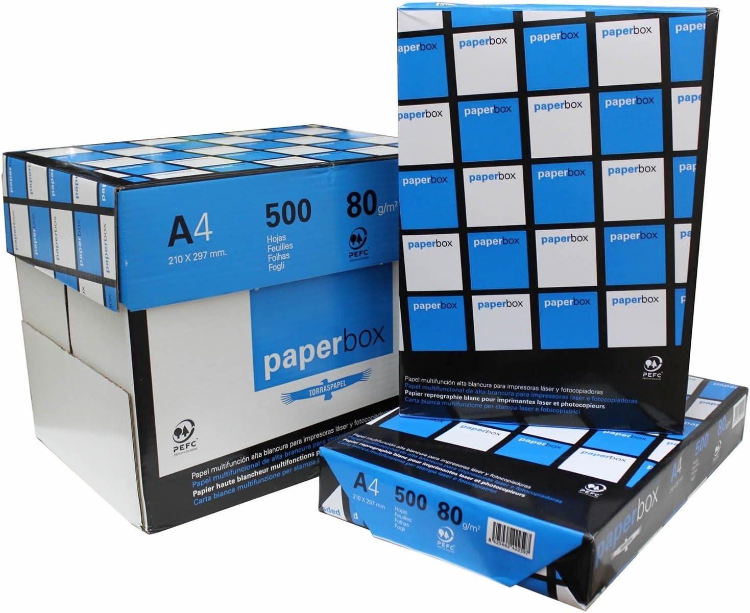 Torras - Papel paperbox 5 Paquetes x 500 Hojas - DIN a4 80grs - Papel de Oficina de Alta blancura: Amazon.es: Informática
