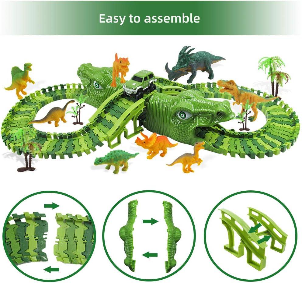 Zwini Circuit Dinosaure Voiture 153 Pi/èces Flexible Enfant Voiture Jurassic Park Cadeau Jouet pour Electrique Jouet,Dinosaur Track Toy pour Cadeau Jeux Educatif 3 4 5 6 7 Ans Garcon Fille Enfant