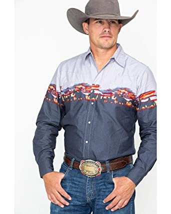 0130f5625a Roper Men s Border Print Snap Long Sleeve Western Shirt Blue Medium at  Amazon Men s Clothing store