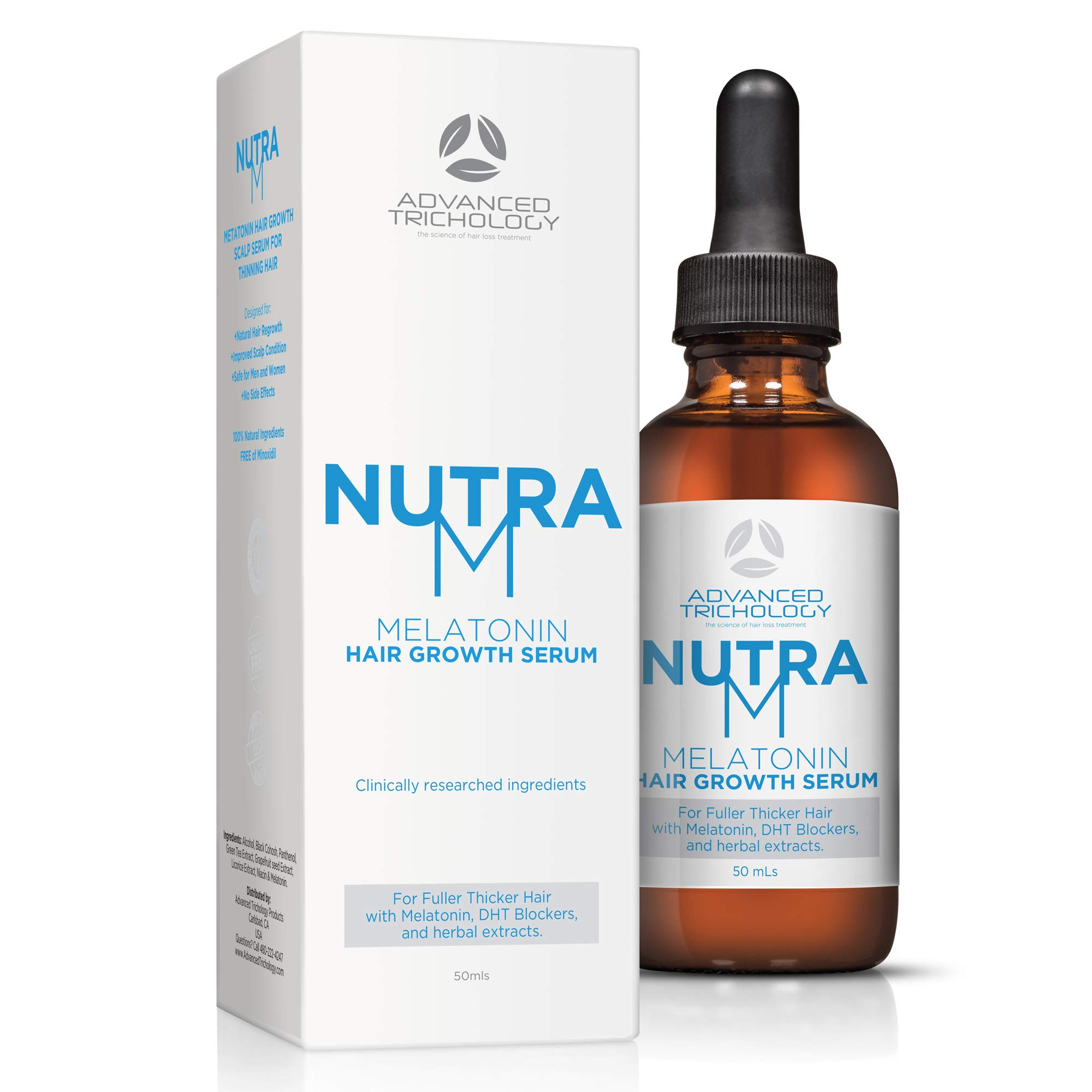NutraM Melatonin Clinical Hair Growth Serum - DHT Blocker Hair Loss Treatments, Reverse Thinning Hair with Melatonin, and Hair Growth for Men and Women - Guaranteed - Residue Free by Advanced Trichology