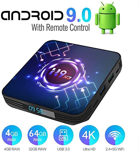 DOOK Android 9.0 TV Box [4GB RAM+64GB ROM] H9-X3 Android TV Box, Amlogic S905X3 64-bit Quad Core Arm Cortex-A55,Dual-WiFi 2.4GHz / 5.8GHz,3D / 8K Full HD/H.265 / USB3.0 Android Smart TV Box: