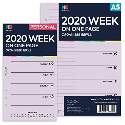 NBplanner® 2020 Agenda semanal en una página con ...