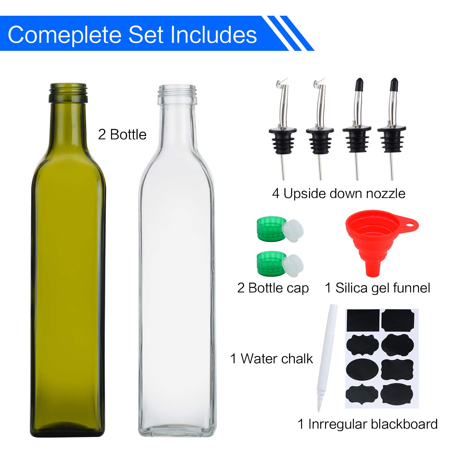 17oz Glass Olive Oil Bottle and Vinegar Cruet Sets, 500ml Oil Dispenser & Vinegar Cruet with Pourers Spout and Funnel for Kitchen