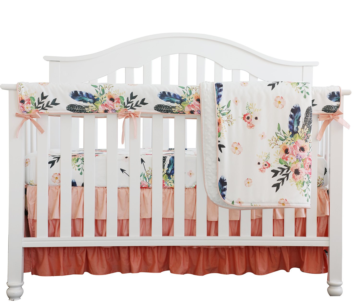 Amazon Com Boho Coral Feather Floral Ruffle Baby Minky Blanket Peach Floral Nursery Crib Skirt Set Baby Girl Crib Bedding Feather Blanket Feather Floral 4pc Set Baby
