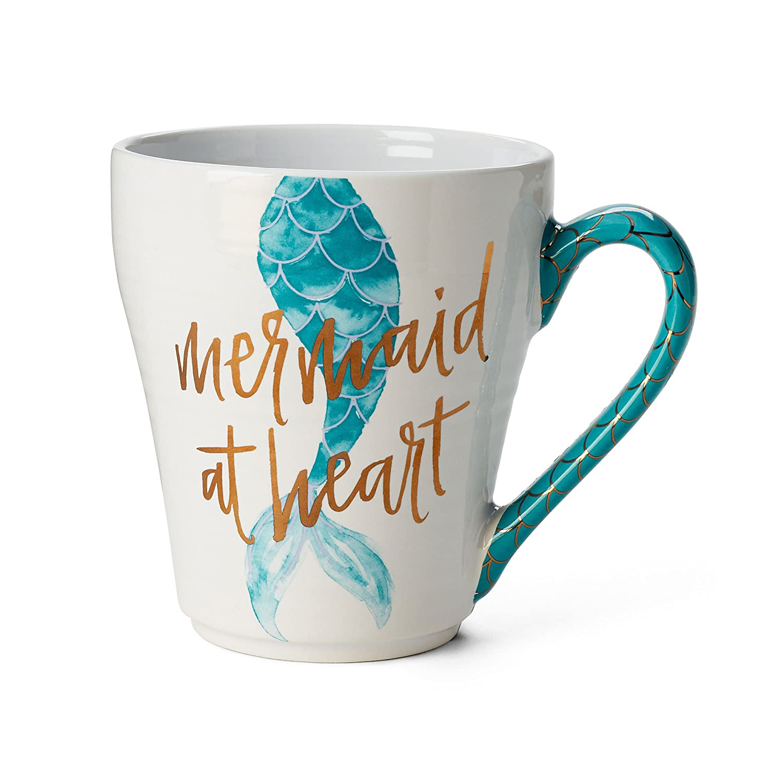 Ceramic Reusable Coffee / Tea Mug: Cute Novelty Mermaid at Heart Hot Coffee or Tea Cup (Teal)