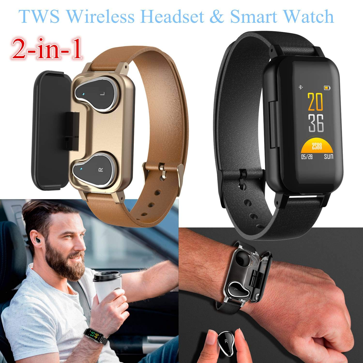Smart Watch and Wireless Blue-tooth TWS Headset 2 in 1 High-fidelity Sound Quality Headphone Sport Music Earphone Heart Rate Monitor Blood Pressure Fitness Tracker Message Reminder Wristband by Sincerest